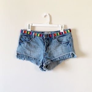 Free People Elliot Rainbow Cutoff Jean Shorts 28